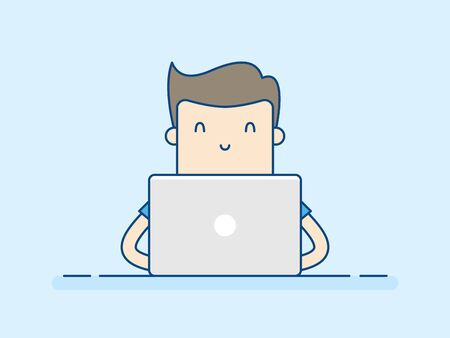 Young Man Working With Laptop. Business Concept Illustration. Illustration