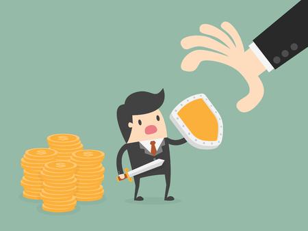 cartoon umbrella: Money Protection. Business Concept Illustration.