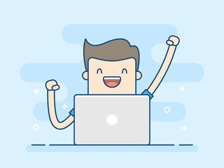 Happy Businessman With Laptop. Concept Of Successful. Business Concept Illustration. Illustration