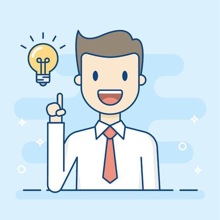 Homme d'affaires heureux ayant une bonne idée. Illustration de concept d'entreprise.