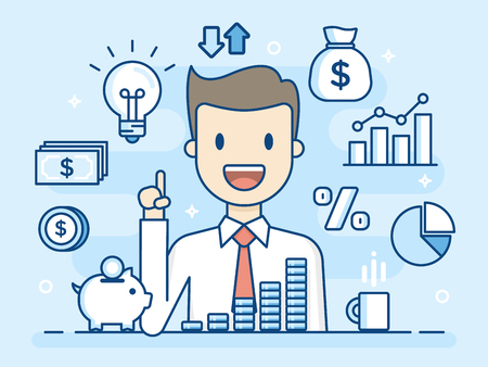 Flat Line Illustration. Business Concept Illustration.