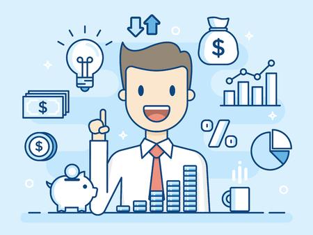 Flat Line Illustration. Business Concept Illustration. Stock fotó - 96133125