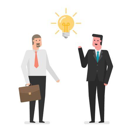 Businessmen With an Idea, flat cartoon design illustration