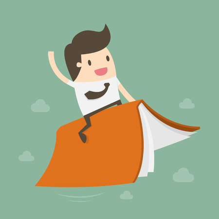Businessman Riding Flying Book, flat cartoon design