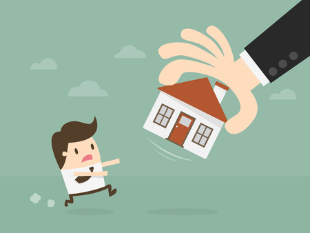 Hand Take House Away. isolated on plain background. Illustration