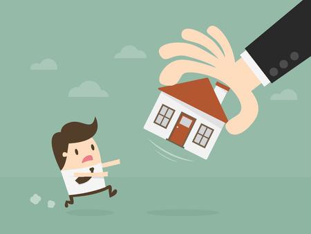 Hand Take House Away. isolated on plain background. Illustration