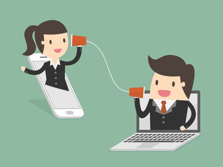 Businessman and woman talking through a string phone Illustration