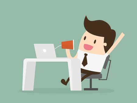 Businessman talking through a string phone. Ilustração