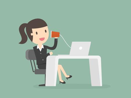 Businesswoman talking through a string phone. Stock Illustratie