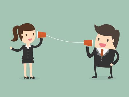 Biznesmen i kobieta rozmawia przez telefon strunowy Ilustracje wektorowe