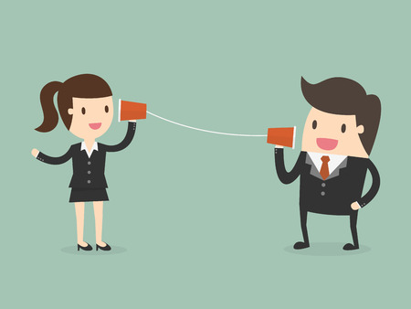 Businessman and woman talking through a string phone Ilustrace