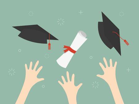 空気イラストのディプロマと卒業キャップ