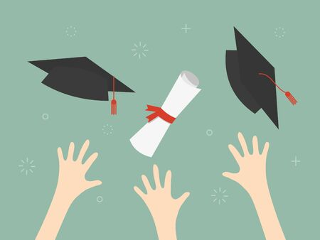 Diploma and graduation cap in the air illustration