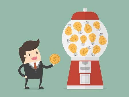 Businessman holding a coin beside a light bulb vending machine