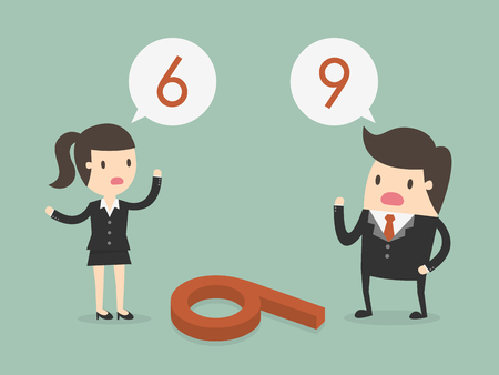 Businessman and woman thinking differently of the number on the floor if 6 or 9