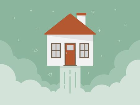 House above the clouds illustration Stock Illustratie
