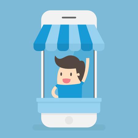 Man in a retailer display cart Illustration