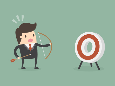 Business success target illustration Çizim