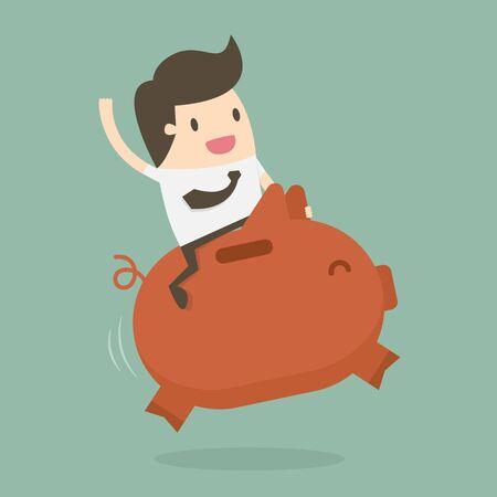 Businessman Riding on a Piggy bank. Business Concept Illustration.