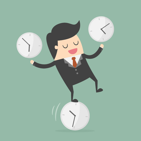 Businessman balancing on a clock illustration