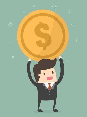Businessman Holding a Coin Business Concept Cartoon Illustration. Illustration