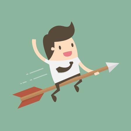 Businessman riding on an arrow illustration