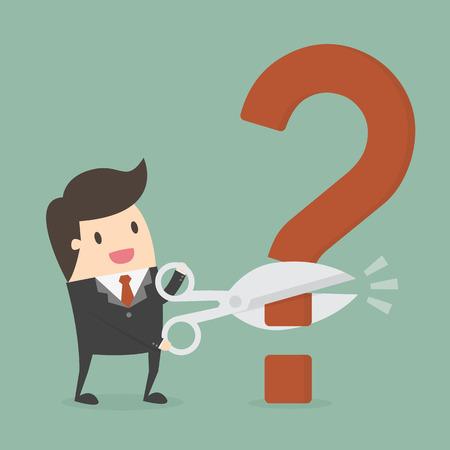 Businessman cutting a question mark illustration Vectores
