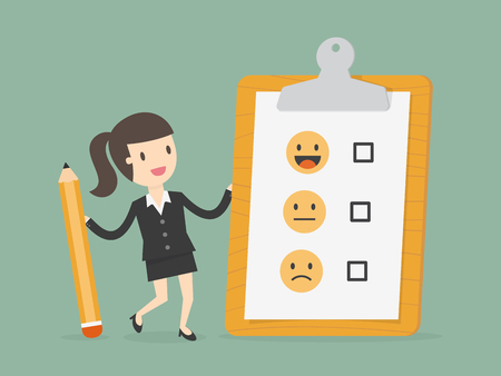 Businesswoman holding a pencil and a clipboard with emoticons with checkbox Illustration