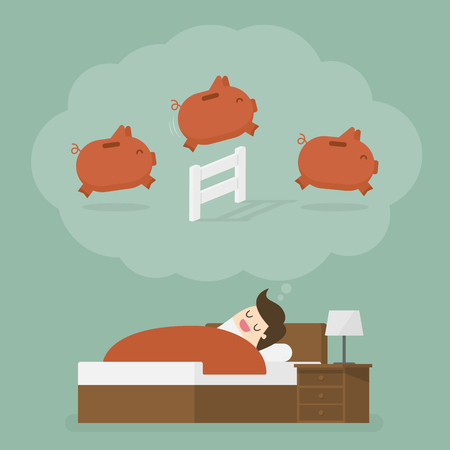 Man dreaming of jumping piggy bank over the fence Stock Illustratie