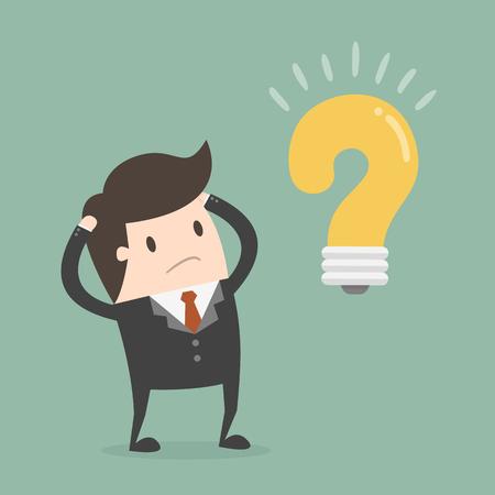 Biznesmen myśli o rozwiązaniu problemu Ilustracje wektorowe