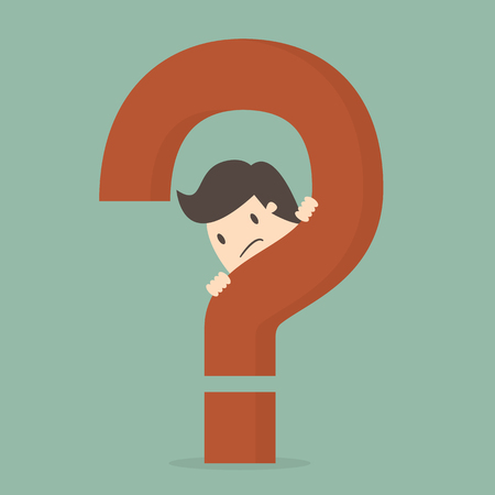 Businessman behind a question mark illustration