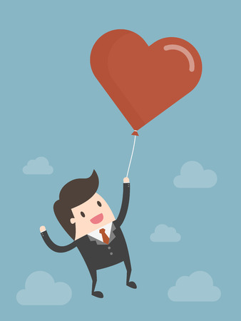 Businessman Flying In The Sky With Red Heart Balloon. Business Concept Illustration. 向量圖像