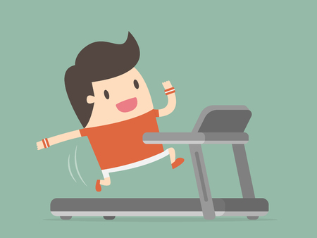 Young Man Running On Treadmill