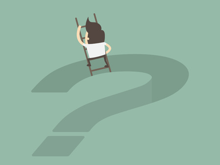 Business Concept Illustration of man climbing on top of question mark. Stock Illustratie