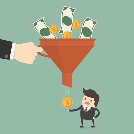 Business Concept Illustration of funneling money to businessman. Vettoriali