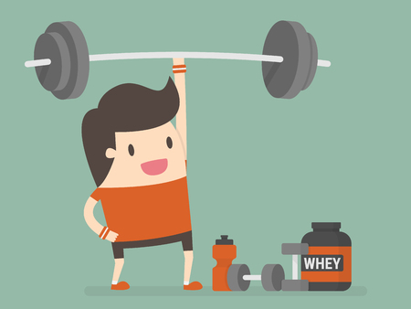 Fit Young Man Lifting Barbell Over his Head With One Hand.