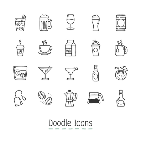 Hand Drawn Icon Set with beer, tea and other drnks.