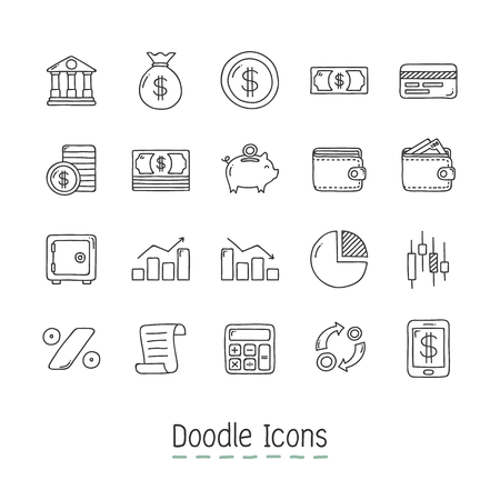 Hand Drawn business and money Icon Set. Ilustrace