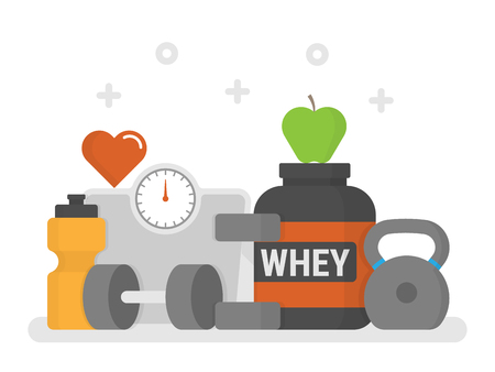 Flat design Fitness Icon set like whey protein, and weights Çizim
