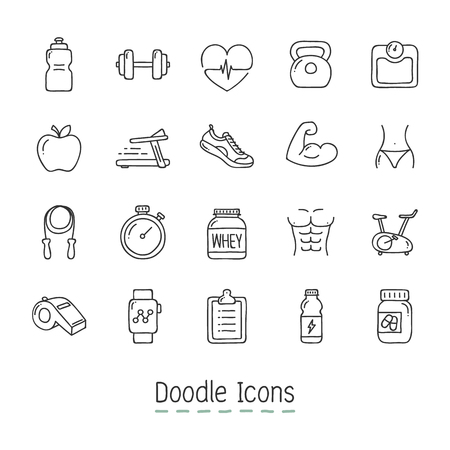 Hand Drawn fitness Icon Set like clock, barbell and weighing scale.