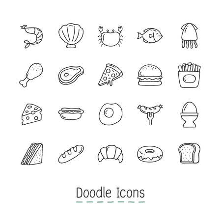 Hand Drawn food Icon Set like sausage, steak and croissant. Illustration
