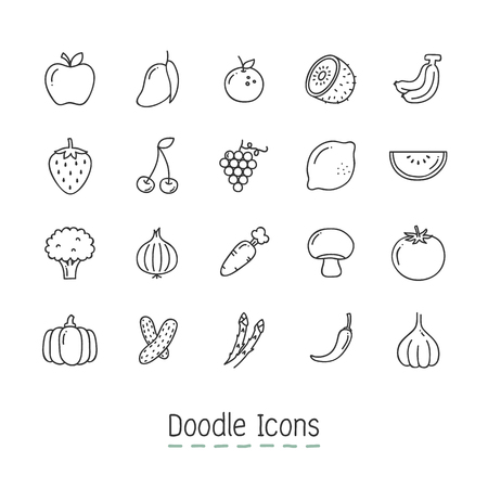 Hand Drawn fruit Icon Set.