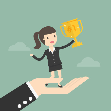 Successful Business woman Standing On Big Hand. Business Concept Illustration.