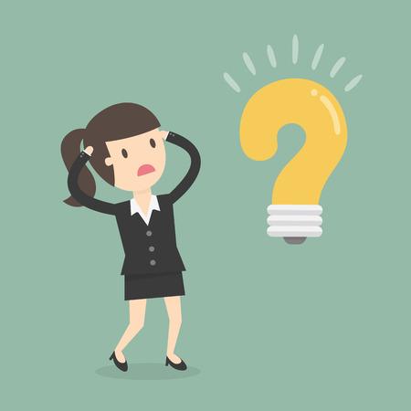 Mujer de negocios en la ilustración del concepto de duda.