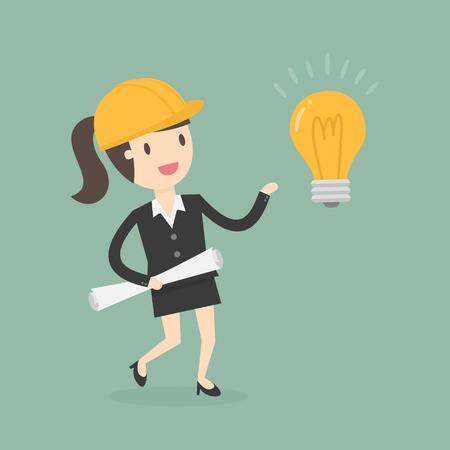 Donna di affari con un'illustrazione di concetto di idea. Vettoriali