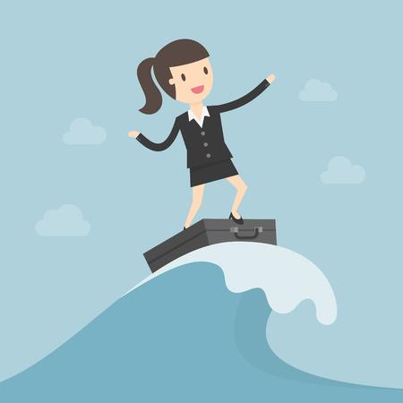 波の上でサーフィンするビジネスウーマン。ビジネスコンセプトイラストレーション。  イラスト・ベクター素材