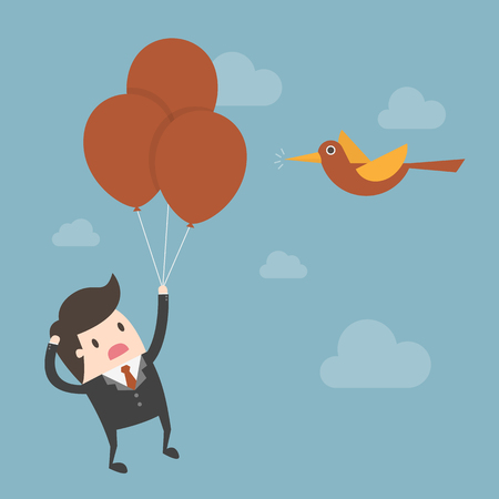 Businessman floating with set of balloons. Stock Illustratie