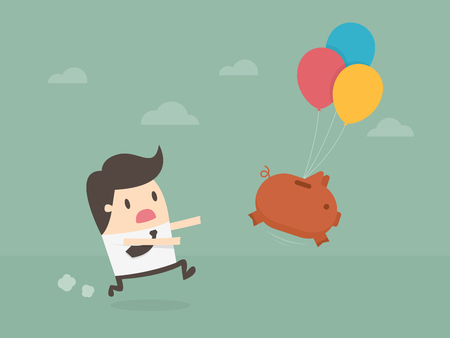 Businessman chasing a pig. Illustration