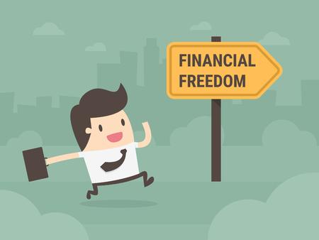Businessman running towards financial freedom.