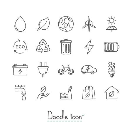 Hand Drawn environmental  Doodle Icon Set.